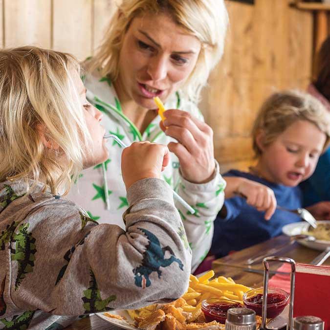 Für Kinder im ein Highlight - Schnitzel mit Pommes auf der Rosskogelhütte