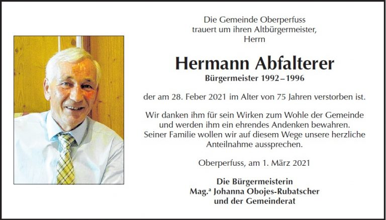Parte Altbürgermeister Hermann Abfalterer